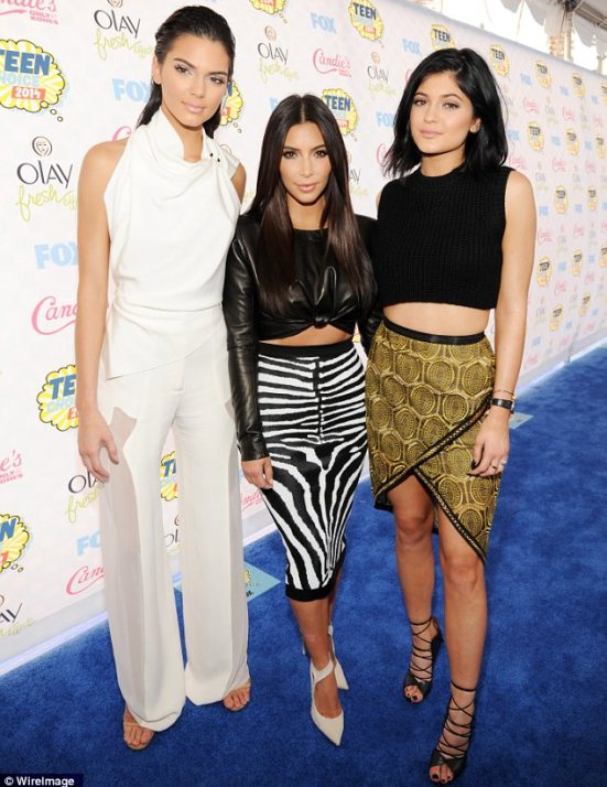 Standing out: Although Kim and Kylie had coordinated their looks, Kendall was taking her own path