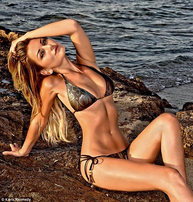 She's a [snake] charmer: Sam Faiers poses in her metallic triangle bikini while on a break in Greece