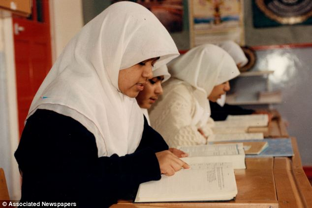 Agreement: John Lewis has won the contract to supply uniforms to the Islamia Girls' School in north-west London, which was established in 1983 by Yusuf Islam. Above, pupils are seen at the school in Salusbury Road