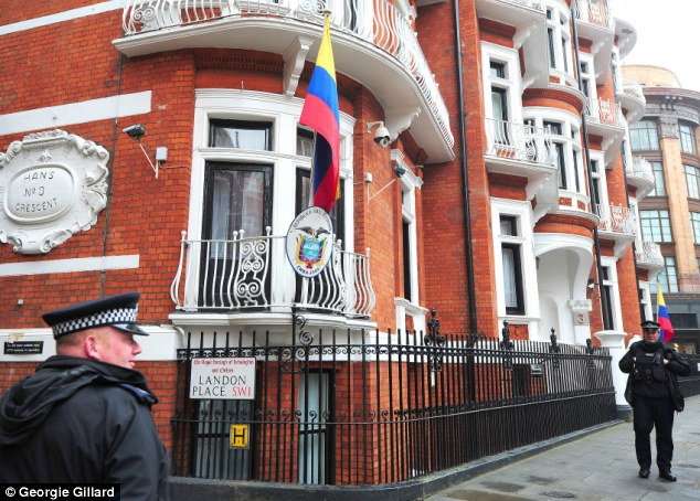 Police presence: The 43-year-old WikiLeaks founder claims policing the embassy costs Britain £240,000 a month