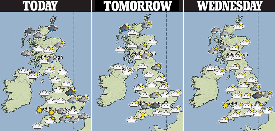 The three-day forecast predicts heavy rain in eastern parts of the country and Scotland, mixed with sunny spells and scattered showers in the rest of the UK