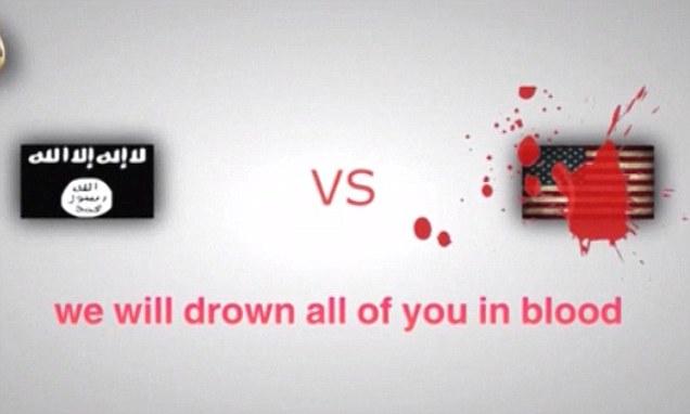 Un message macabre: des militants de l'État islamique posté une vidéo en ligne montrant un refroidissement étoiles et rayures ensanglanté à côté du drapeau djihadiste à la menace «nous noyer tous vous dans le sang» pour se venger de frappes aériennes américaines