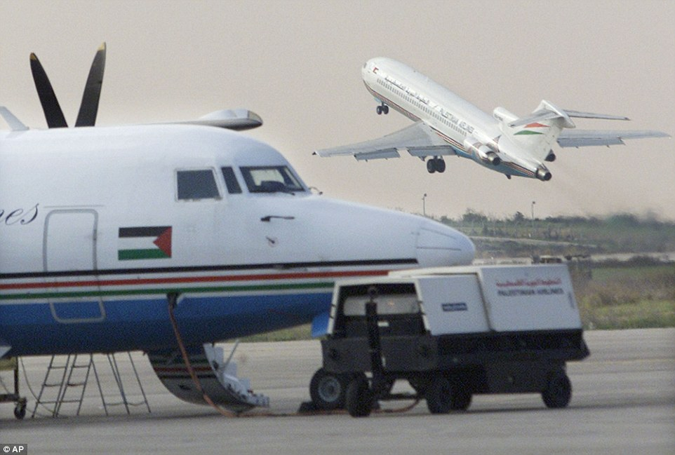 In its heyday: A Palestinian Airlines flight bound for Cairo lifts off from the Gaza International Airport in Rafah in January 2001 after it was reopened for the first time in ten days