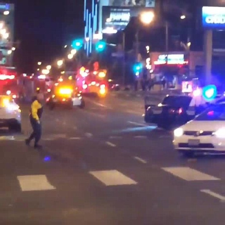 Chaos: Emergency services arrive at 1OAK in West Hollywood following the reported shooting