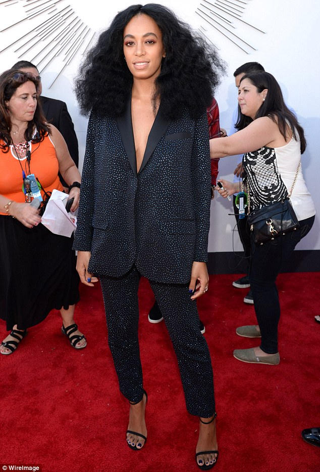 Solo: Beyonce appeared to keep her distance from sister Solange (pictured) during the 2014 MTV Video Music Awards on Sunday