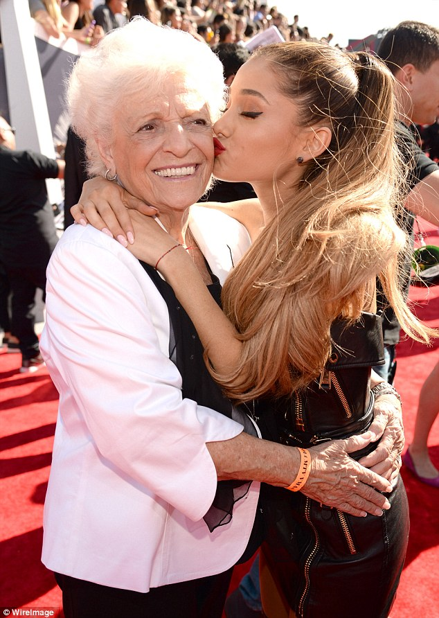 What did Granny think? Ariana Grande gave her grandma a peck on the cheek as she arrived to the MTV Video Music Awards clad in a daring leather dress on Sunday in Inglewood