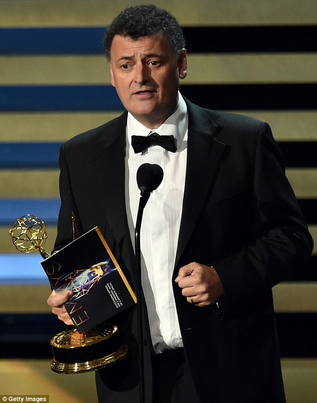 The man behind the revamp: Sherlock co-creator Steven Moffat accepted the award for Outstanding Writing For A Miniseries, Movie Or Dramatic Special for Sherlock: His Last Vow