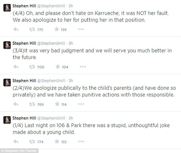 Full of regret: BET President Stephen Hill also issued an apology via Twitter, in which he revealed that he had reached out to Beyoncé and Jay Z and is taking 'punitive actions' against the producers who put the guest host in that unfortunate position