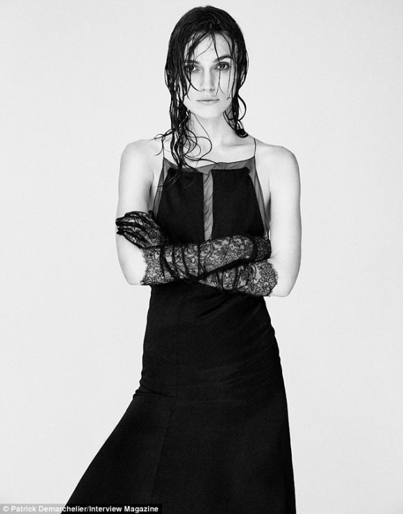 Artistic: Keira Knightley's wet hair is plastered against her face in some of black and white shots by Patrick Demarchelier