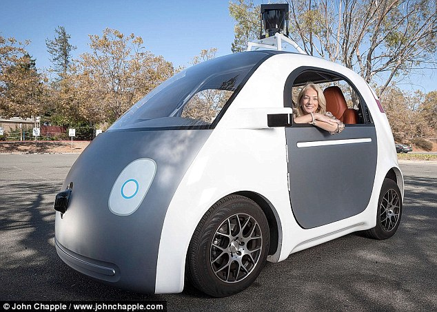 Caroline Graham takes a spin in Google's new car - called Firefly or the ¿bubble¿ or ¿bobble¿ car or ¿koala¿ because of its distinctive grey-and-white livery or Bert after the Sesame Street character