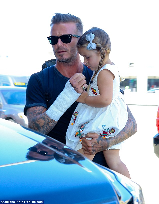 David Beckham Sports Bandaged Arm After Motorbike Crash As