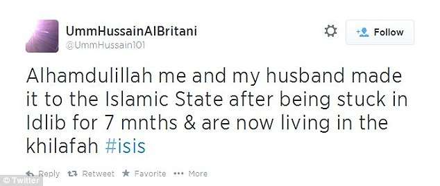 On August 10 Umm Hussain tweeted that her and her husband had made it to the 'Caliphate'
