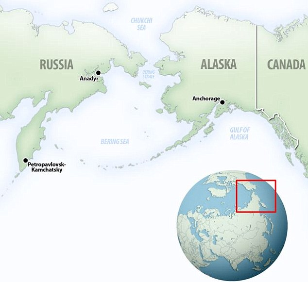 Close: A map shows the jarring proximity of Russia to Alaska, the closest point of which is just 2.3 miles from country to country via the islands of Little and Big Diomede