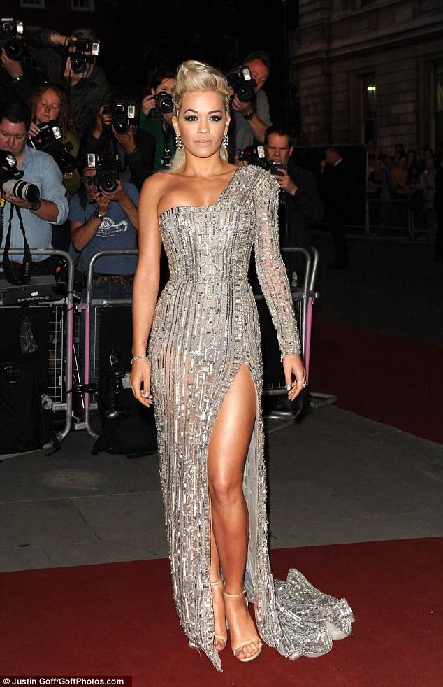 Rita Ora Showcases Slender Legs In Ornate Diamond Dress