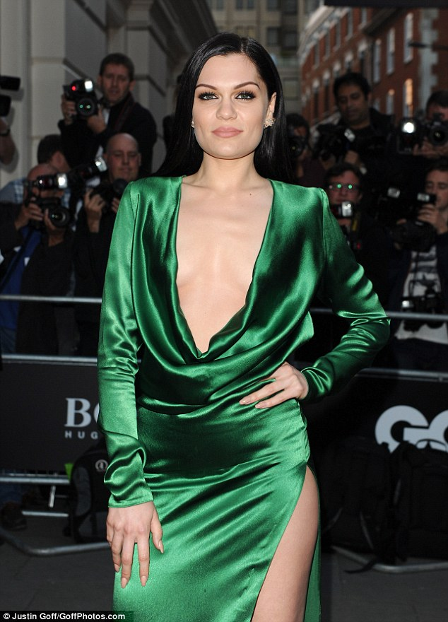 Bold: With a low neckline and a high thigh split, Jessie J that almost met in the middle on her flawless frame
