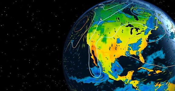 HD Decor Images » Watch the weather around the world LIVE on a 3D globe   Daily Mail     Data is pulled live from a forecast model by the European Centre for  Medium Range
