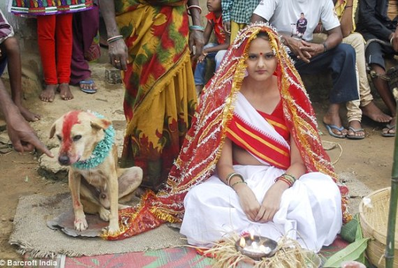 Ruff deal: An 18-year-old girl in India (pictured) was ordered by village elders to marry a dog (left) to lift a bad-luck curse that's hanging over her