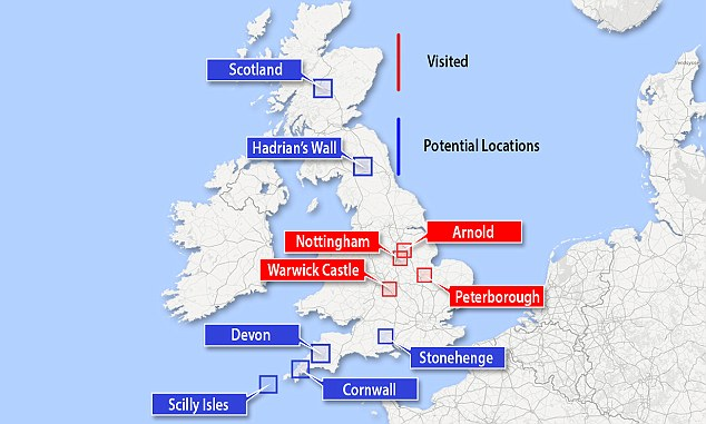 The trip, which will take at least a year, will take in the likes of Stonehenge, the Scilly Isles and salmon rivers in Scotland