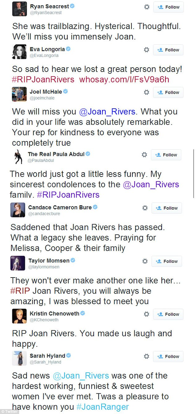 Gone but never forgotten: The stars expressed their sadness but also shared their favourite Joan stories