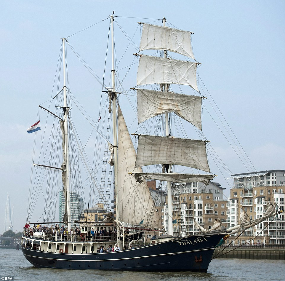 The three mast barquentine 'Thalassa' from The Netherlands arrives in London for the start of the regatta