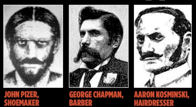 The suspects: The long line of men believed to be Jack the Ripper include, from left to right, Prince Albert Victor, Edward VII's son, allegedly driven by syphilis-induced madness, Queen Victoria's doctor, a Jewish shoemaker