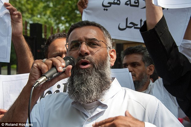 Controversial: Choudary during a demonstration outside Regents Park Mosque in July last year