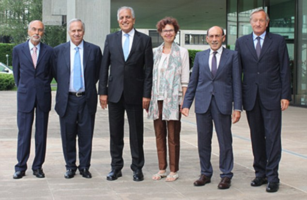 Zalmay Khalilzad (third left) with his wife Cheryl Benard alongside executives from Italian industrial company Fata