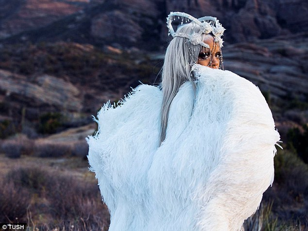 She's an angel: Rihanna donned a crown and set of fluffy appendages