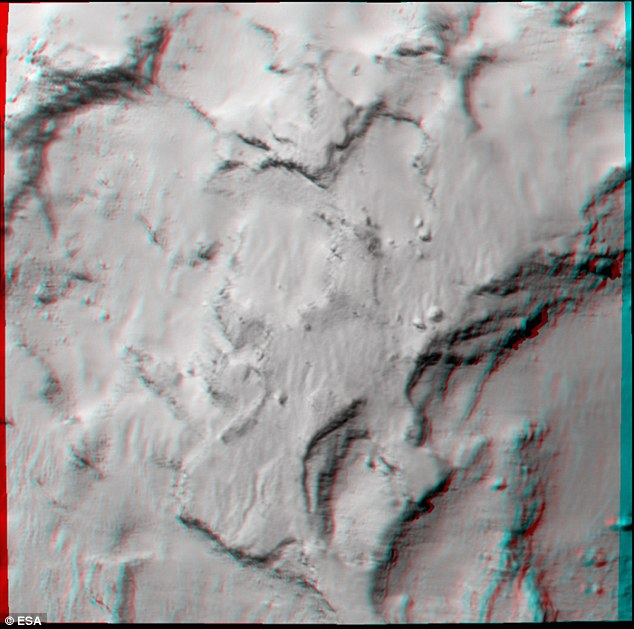 This 3D image of Philae¿s primary landing site on the ¿head¿ of Comet 67P/Churyumov¿Gerasimenko can be viewed using stereoscopic glasses with red¿green/blue filters