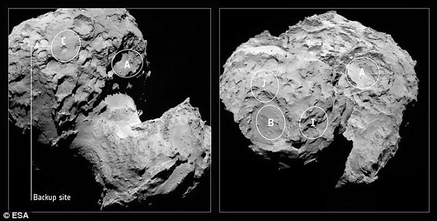 The original five candidate landing sites for Rosetta¿s lander Philae, and with the backup, Site C, indicated