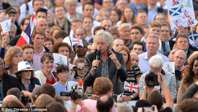 Irish-born Bob Geldof appeared at the Better Together rally in Trafalgar Square, London, this evening to the bemusement of many critics