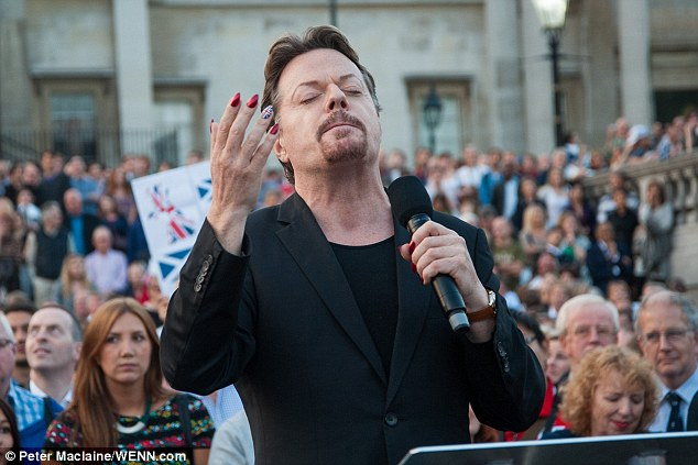 Comedian Eddie Izzard, born in Yemen, who sported a Union Jack manicure as he told Scots: 'We care'