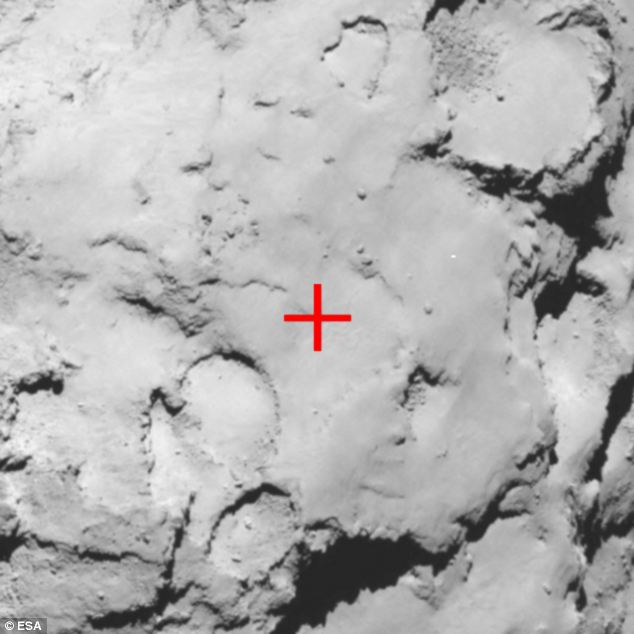 Site C was chosen as the backup site for Rosetta's lander Philae during the Landing Site Selection  meeting held on 13-14 September 2014. The image was taken by Rosetta at a distance of about 43 miles (70km)