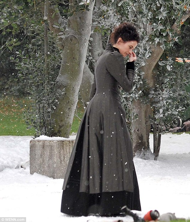 Crying shame: The set was covered in fake snow and the gardens were transformed into a winter wonderland