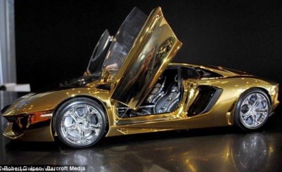 A model gold Lamborghini Aventador went on display at a showroom in Dubai to celebrate the manufacturer's 50th birthday.The gold vehicle had a price tag of $7.5 million, making it the world's  most expensive model car