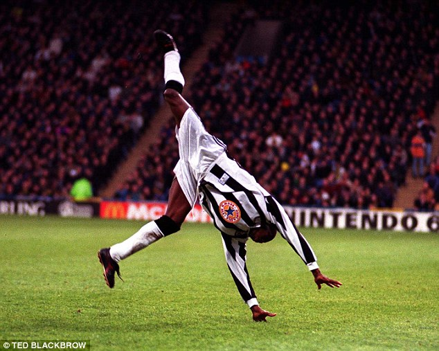 Image result for faustino asprilla newcastle cartwheel