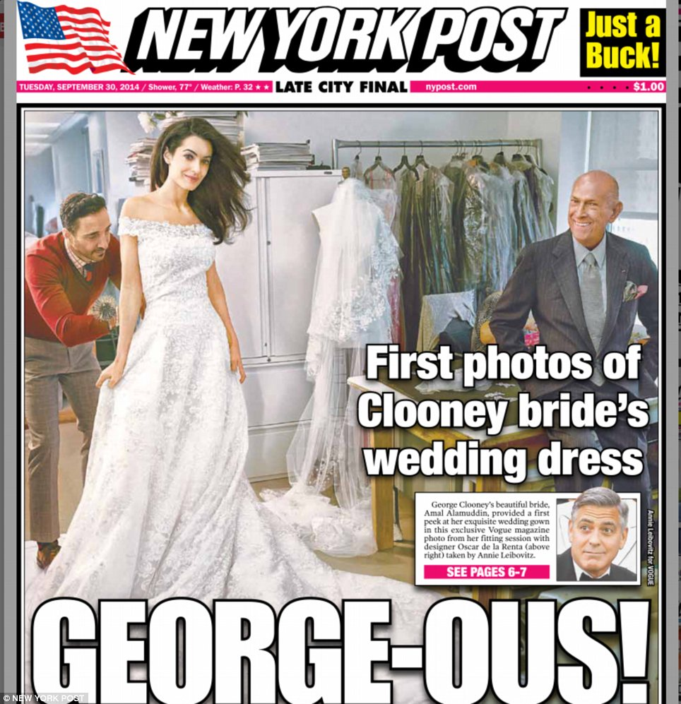 Stunning: One of Amal's dress fittings with Oscar de la Renta was captured on camera by Annie Leibovitz for US Vogue and obtained by the New York Post