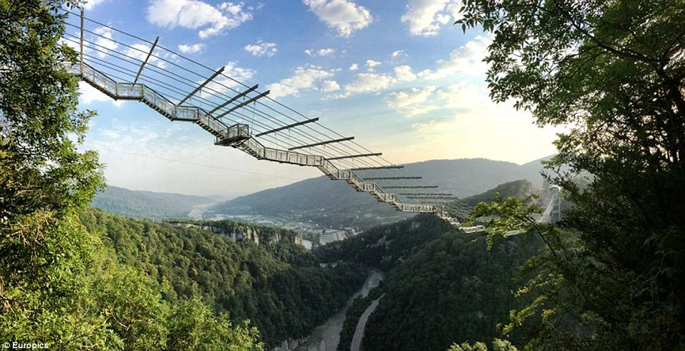 A widescreen panorama: The SkyBridges is built across the Krasnaya Polyana valley in south-western Russia