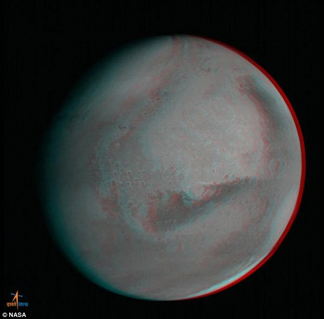 The craft also captured the same view in 3D - with operators tweeted 'What sorcery is this? Get your 3D glasses to look at Mars the way I do!'
