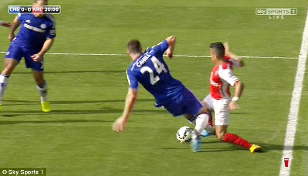 Cahill goes through Sanchez to get the ball and it started the feud between managers Wenger and Mourinho