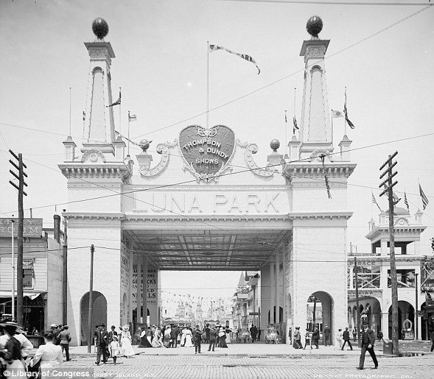 A hit: The tribe's success at Luna Park was fueled by the tall tales and publicity genius of Hunt who managed to plant stories about the 'head hunting, dog eating savages' in newspapers coast to coast