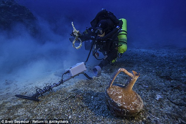 Greek technical diver Alexandros Sotiriou previously discovered an intact 'lagynos' ceramic table jug and a bronze rigging ring on the Antikythera Shipwreck. These objects were among the first finds when divers returned to the 2,200-year-old wreck off the coast of Greece last year