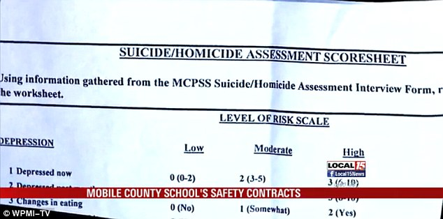 Depressed: The school,E.R. Dickson Elementary in Mobile, tried to assess whether the little girl was suicidal or homicidal