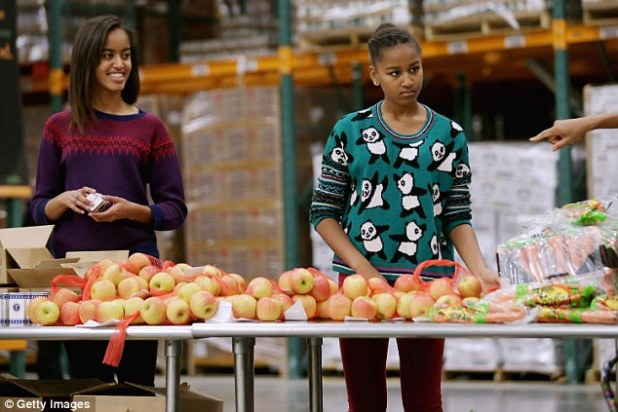 Power players:Also on the list are Sasha Obama, 13, and Malia Obama, 16, who are commended for their style sense and popularity