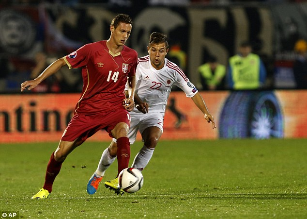 Chelsea's Nemanja Matic was starring in midfield for the Serbian side before the game was suspended