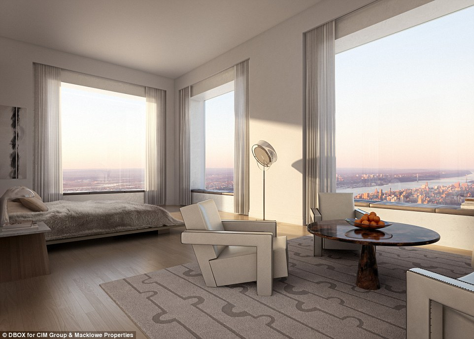 A view to wake up to: Designed by architect Rafael Viñoly, the 96-story condo offers 104 units, ranging from $16.95million to $95million