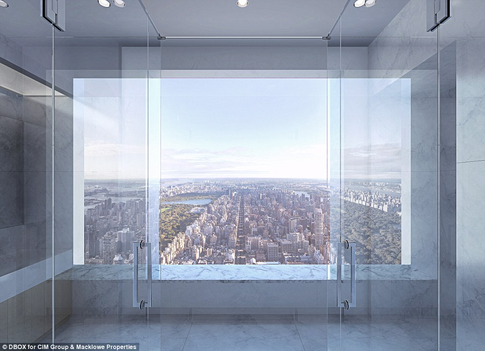 Breathtaking: For those lucky few who can afford to purchase a unit, they will be able to observe the views from  10-foot-by-10-foot windows