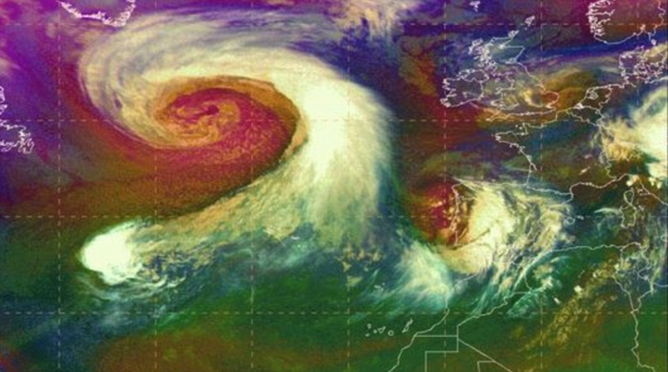 The massive low pressure system which is bearing down on the UK is causing havoc on both sides of the Atlantic, with hurricanes barrelling into the Caribbean and southern US