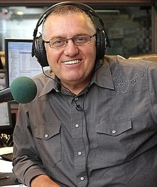 2GB presenter Ray Hadley (left) called Mike Carlton (right) a 'dog' and a 'grub' on his Wednesday morning segment. Hadley also threatened to punch Carlton for his tweet which alluded to him being a 'wife beater'