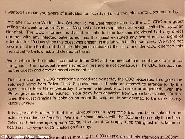 Explanation: This note was handed out to passengers explaining how the spat with Belize meant the woman could not be taken off the ship